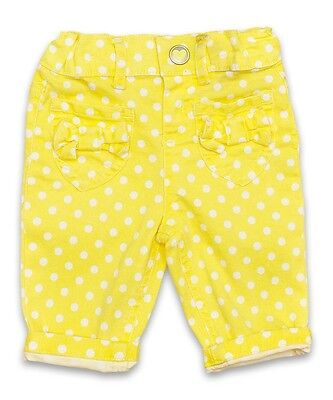 Bnwt Baby Girls Yellow White Polka Dot Cropped Trousers Ages 6 - 9 Months Only