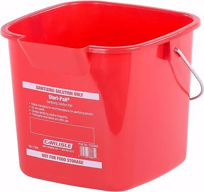 Carlisle 1182805 Square Steri Pail 3 quart Red Case of 12