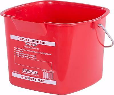 Carlisle 1183005 Square Steri Pail 8 quart Red Case of 12
