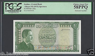 Jordan One Dinar ND (1973) P14bs Specimen Perforated  About Uncirculated