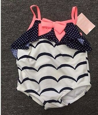 Newborn Infant Baby Girls Swimwear Wave Dot One Piece Bow Swimsuit 3M 6M 12M 18M
