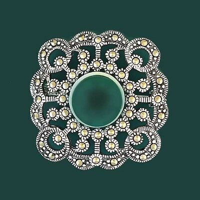 Gorgeous Sterling Silver Marcasite Green Agate Brooch Pin - For Scarf Jacket