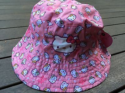 New Girls Kids Children Cute Peach Hello Kitty Light Bucket Cap Sun Hat 1-8years