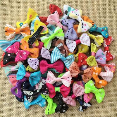 100PCS/lot Wholesale colorful Dog Puppy cat Pet Bow Hairpins Hair Clip Grooming