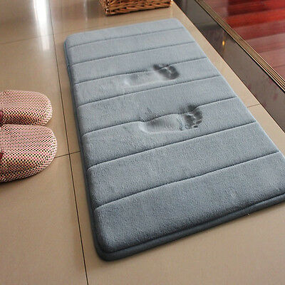 New Water Absorbent Non Skid Memory Foam Bath Spa Rug Shower Mat Carpet Gray