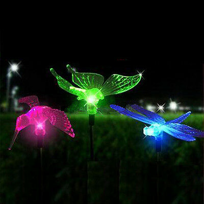 Set of 3 Color-Changing Solar Garden Stake Light bird Dragonfly Butterfly New