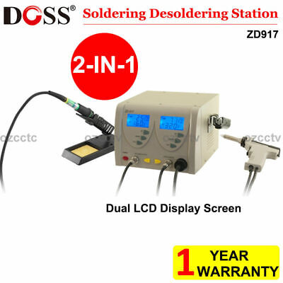 DOSS 2IN1 Soldering Desoldering Station Dual LCD Display Screen  ZD917 AU STPCK