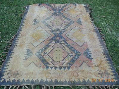 """Antique well used cotton carpet wall covering 60 x 78""""  Tampan Ancestral weaving"""