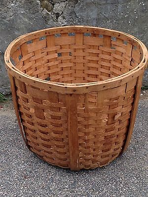 Large Vintage Wooden Woven Laundry Carrying Basket Country Primitive Decor