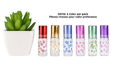 Aromatherapy Bottles Glass*5 x 5ml*Colours*Metal Roller*Essential Oil*Perfume