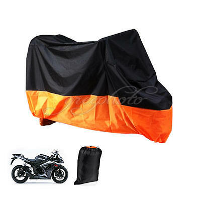 Black/Orange Outdoor Motorcycle Cover For Harley Davidson Dyna Wide Glide XXXL