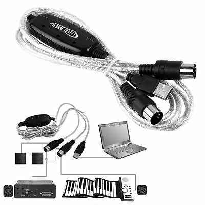 MIDI to USB Interface Cable Adapter for Keyboard Electronic Drum Music Create