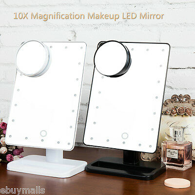 10X Magnifying Touch 20 LED Illuminated Vanity Make-up Cosmetic Tabletop Mirror