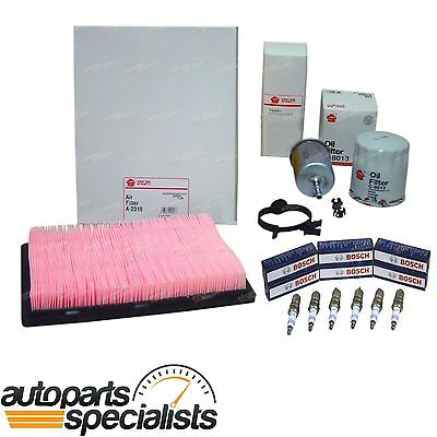 Oil, Air & Fuel Filter Kit Bosch Spark Plugs fit Commodore VX VY VT 6cyl V6 3.8L