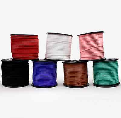 100M 3mm Suede Korean Velvet Leather string Rope Thread Flat Lace Genuine cord
