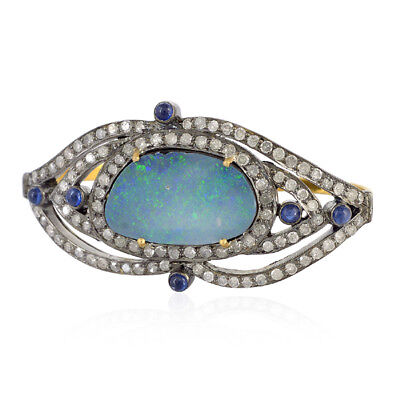Sapphire Australian Opal Two Finger Ring 18k Gold Silver Pave Diamond Jewelry