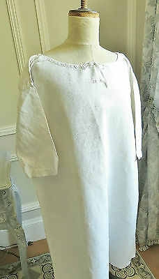 Lovely Antique French Linen Chemise Work Nightshirt Tunic Rustic Country Style