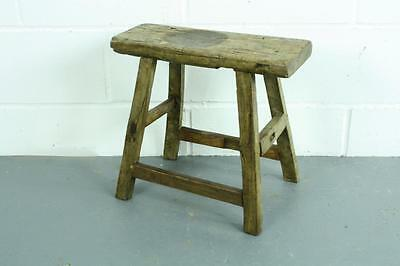 Vintage Rustic Antique Wooden Stool Milking Large Waxed W72