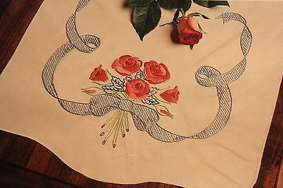 Wonder Art Perle Edged Dresser Scarf Kit Stamped Linen Rose Bouquet Ribbons New