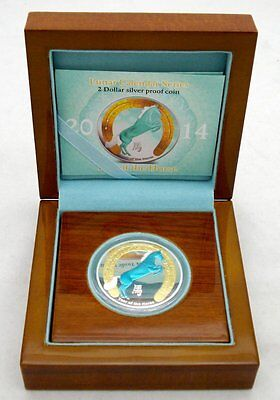 """2014 NIUE $2 """"YEAR OF THE HORSE"""" 1oz 999 FINE SILVER COIN  LOW MINTAGE 1500"""