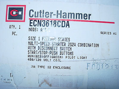 New Cutler Hammer Size 1 Combo  Disconnect Starter Cat.#ecn3618Cda  Multi  Speed