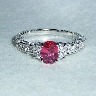Bague Rubis Rouge et Topazes Blanches Argent Massif 925