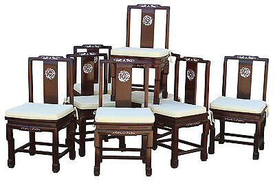Chinese Rosewood and Mother-of-Pearl Dining Chairs, Set of 8