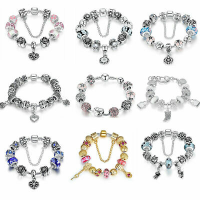European 925 Silver Bracelets with Heart Charms & Glass Bead for Women Girls DIY
