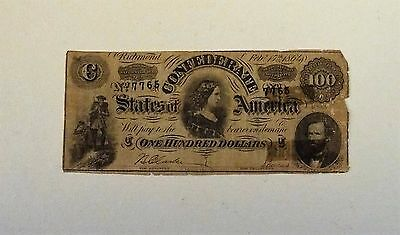 Authentic 1864 $100.00 Confederate States Of America Lucy Pickens Bill S/n 7765