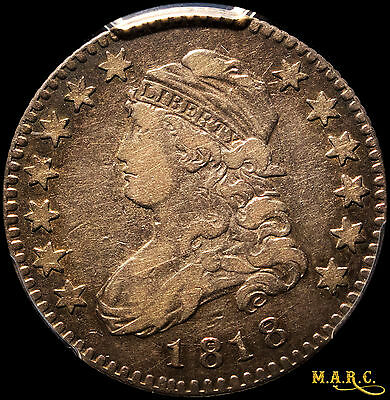 1818 VF20 PCGS 25C Capped Bust Quarter, Toning Makes for Nice Eye Appeal!! MARC