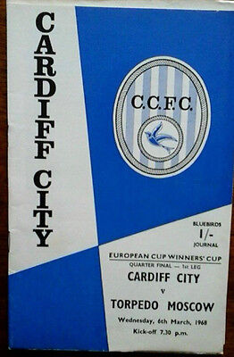 Cardiff V Torpedo Moscow 6/3/1968 European Cup Winners Cup