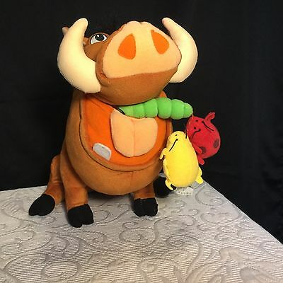 "Disney's The Lion King 2002 'FEED ME PUMBAA' 10"" Plush Toy hasbro  RARE!"