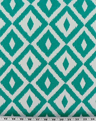 Drapery Upholstery Fabric Indoor Coral /& Ivory Outdoor Ikat Diamond
