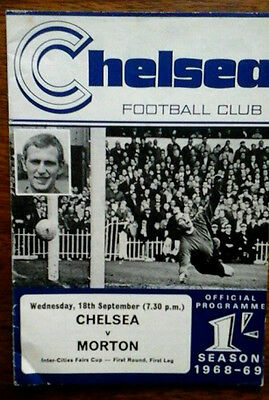 Chelsea V Morton 18/9/1968 Uefa/fairs Cup With Token