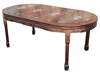 Vintage Chinese Rosewood and Mother-of-Pearl Dining Table