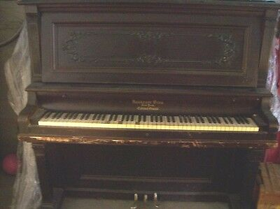 Vintage Krakauer Bros New York Cabinet Grand Piano Upright