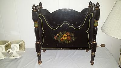 VINTAGE BLACK and GOLD with FLOWERS PAINTED TURNED WOOD MAGAZINE RACK