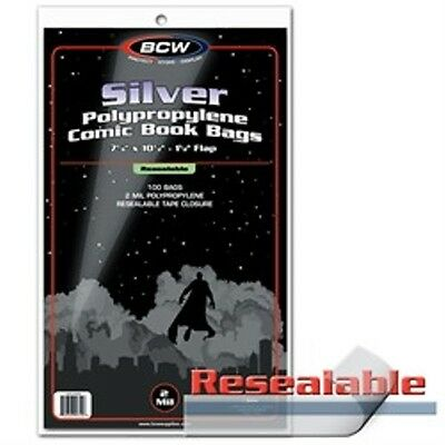 (4x) Comic Bags Silver Size Resealable 100 Count Pack [NEW] Clear Poly Case BCW