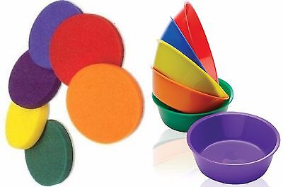 6 x Bowls & Sponge Inserts for Painting Sorting Counting