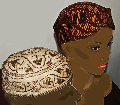 Vintage Ladies African Hat & Man's Islamic Hat gold hand embroidered