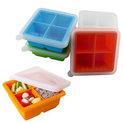 2 Inch Large Premium Silicone Ice Cube Tray with Lid, 4 Cube Food Box