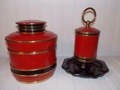 Park-Sherman Deluxe Cigarette HUMIDOR  AND MATCH Holder w/Ashtray! Art Deco