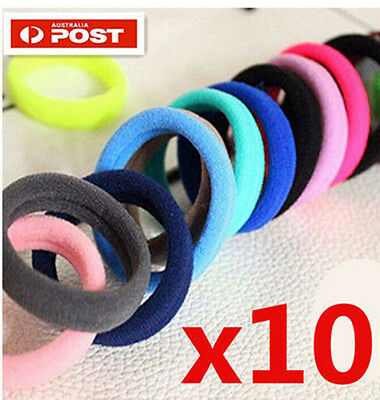 10 x Color Snagless Hair Ties Hair bands Elastic Hair Rope Ponytail Holder