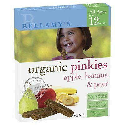 DJP NEW Bellamy's Organic Pinkies Apple Banana & Pear 90g