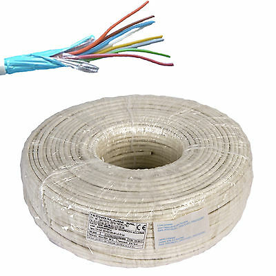 Electric Cable Wire Shielded Alarm Fire Retardant 8X0,22 + 2X0,50 Hank Of 100 Mt
