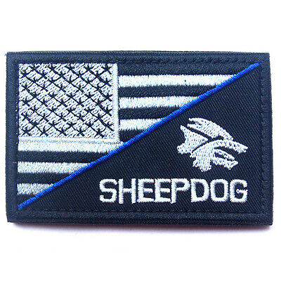 Sheep Dog Usa Flag U.s. Tactical 3D Army Embroidery Morale Badge Patch #2
