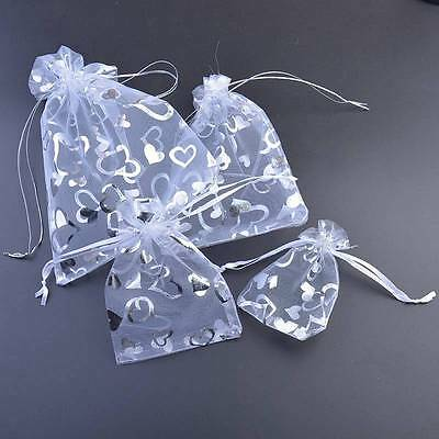 White Large All Size Organza Wedding Jewellery Gift Pouch Favour Bags 7x9 9x12
