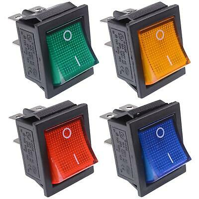 Illuminated Large On-Off Rocker Switch 250V DPST - Red Blue Green Yellow