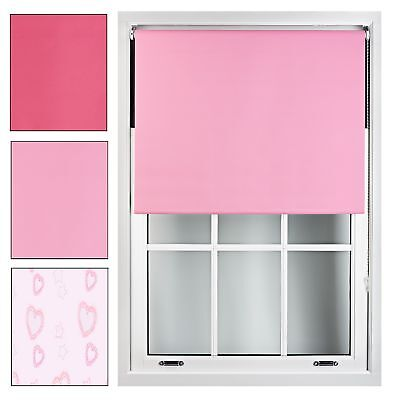 Pink Blackout Roller Blind Made to Measure up to 240cm x 165cm Kids Girls Blinds