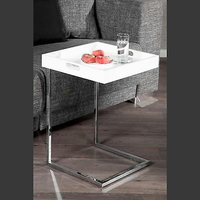 """SQUARE DESIGN SIDE TABLE """"TABLET""""   white   coffee table with removeable tray"""